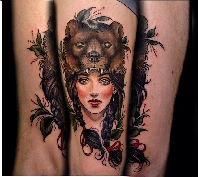 Tatuaje mujer cabeza oso 3