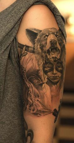 Tatuaje mujer cabeza oso 2