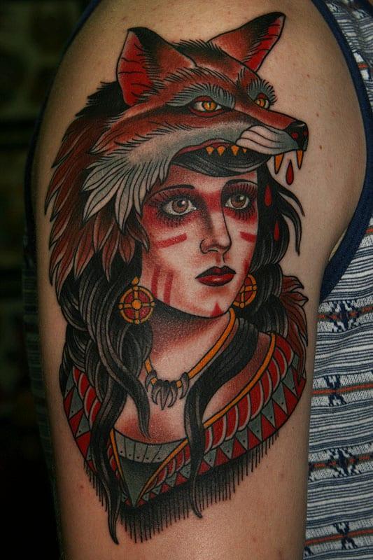 Tatuaje mujer cabeza zorro 3