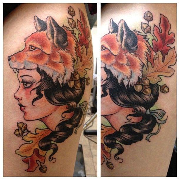 Tatuaje mujer cabeza zorro