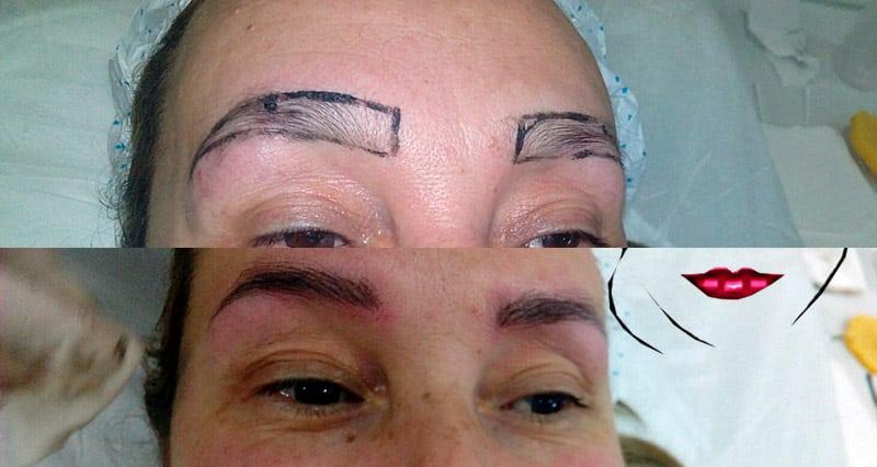 Microblading de cejas antes y después