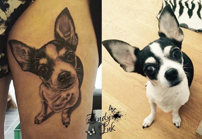 Tatuaje mascota perro gracioso
