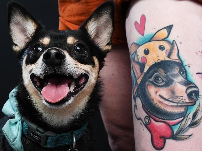 Tatuaje mascota perro con gorra