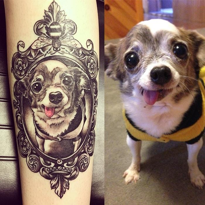 Tatuaje mascota perro con marco