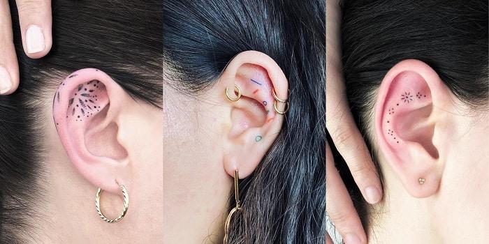 Combinar tatuajes en la oreja con pendientes